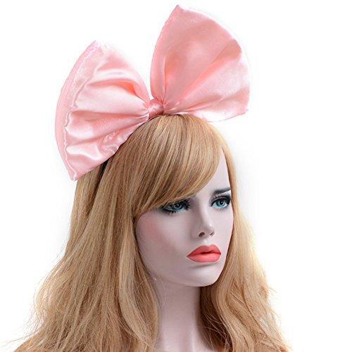 iKulilky Damen Satin Haarband Stirnband mit großen Bogen Kostüm Haar Reif Haarband für Party Kopf Band Hochzeit Haarbänder Haarschmuck Fancy Dress Kopfstück