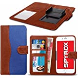 Spyrox - Tp-Link Neffos C5 Max (5.5 inch) Hochwertige Stoff Material Klemme Wallet Case in Brown and Blue
