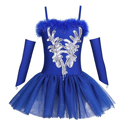 Tiaobug Mädchen Ballettkleidung 3tlg.Set Ballettkleid+Handschuhe+Haarband Kinder Ballettanzug Ballett Trikot Tanz Kostüm Tütü Kleid 104 110 116 122 128 140 152 Blau 140-152 (Herstellergröße: 150)