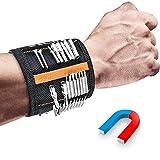 Magnetisches Armband, esLife Magnetarmband mit 15 Starken Magneten, 2 Taschen, Verstellbares Klettband zum Halten von Werkzeugen, Schrauben, Nägel,Bohren Bits und Kleinwerkzeuge