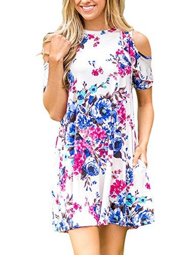 Annflat Women's Summer Ruffled Cold Shoulder Short Sleeve Floral Print Mini Dress