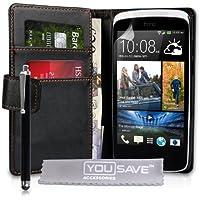 Yousave Accessories Schutzhülle aus PU-Leder, mit Kartenfächern, inkl. Eingabestift, für HTC Desire 500, Schwarz