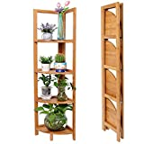 BAKAJI Libreria Scaffale Angolare Pieghevole 4 Ripiani Mensole in Legno bambù Mobile Angoliera Dimensioni 27 x 27 x 120 cm Colore Bamboo Naturale