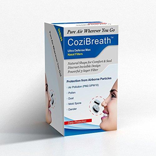 Cozibreath Dreifach (Ultra Defense Max Serie) Unsichtbar Nasenfilter, Reduziert Luftschmutzpartikel, Pollen, Staub, Schimmel, Schuppen Allergene, Allergie Nasen Maske (Schmal Modell, S)