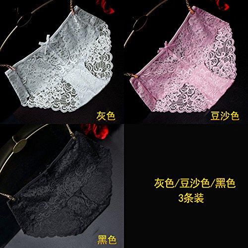 RRRRZ * Articolo 3 scatolato di biancheria intima sexy donna incisione tessuto di pizzo in vita tentazione trasparente 3 Ms. Kok pantaloni non-marking ,L, grigio / nero / colore usuale zongzi