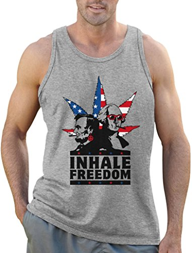 Cooles Geschenk - Inhale Freedom - Licoln Weed Tank Top Grau