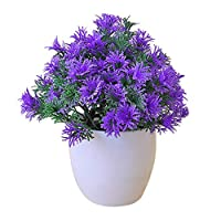 ZT TRADE Fake Flowers Artificial Flower Pot Mini Home Decoration Artificial Plants Purple
