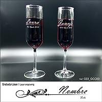 L9 Singular ® Juego de 2 Copas de Champang Personalizadas grabadas con Laser en Estuche para
