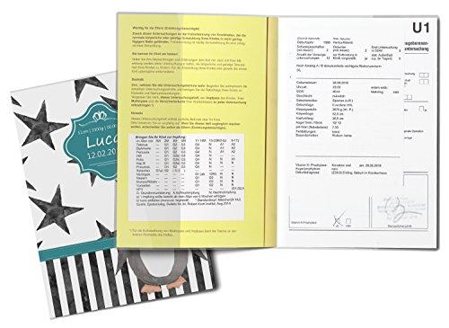 U-Heft Hülle SET Creative Royal Untersuchungsheft & Impfpasshülle wunderschöne Geschenkidee personalisierbar mit Namen und Geburtsdatum (U-Heft Set personalisiert, Pinguin) - 3