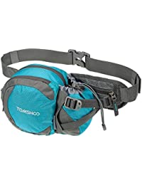 Blue: TOMSHOO Water-resistant Waist Bag Pack With Water Bottle Holder For Hiking Running Cycling Camping Climbing...