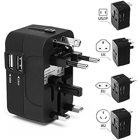Hepheas Conversor Adaptador internacional para US EU UK AU sobre 150 países todo-en-uno pared Universal enchufe cargador con 2 USB y fusible de