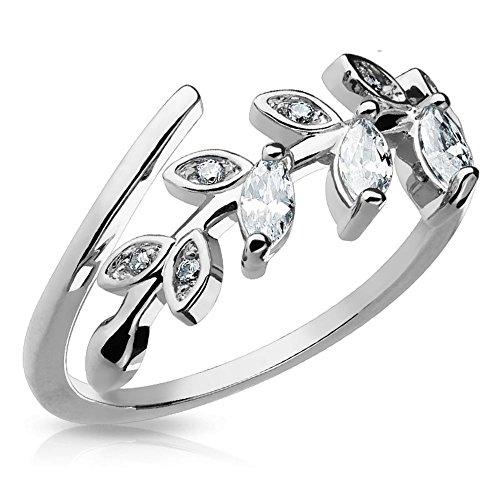 Bungsa Silber - Kristall Blätter Zehenring Zirkonia ~Wählbar in Gold, Rosegold und Silber ~ Brass Rhodium für Damen (Zehring Fussschmuck Fussring Toe-Ring Nail Ring Nagelring biegbar Verstellbar)