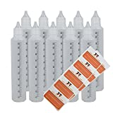 Stiftflaschen bzw. Unicorn Bottle mit SKALA - 10 x 100 ml Kunststoffflaschen aus weichem PE inkl. 10 Etiketten (weiß/transparent) - Liquid Flasche für E-Liquid - einfaches befüllen von E-Zigaretten - Tropfflaschen (100ml)
