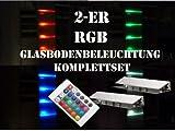 60 mm LED 2-er RGB-Glasbodenbeleuchtung-Komplett-Set +Trafo+RGB-Controller+Fernbedienung