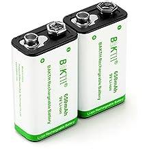 BAKTH Pilas Recargables Li-ion 9V 650mAh Rendimiento más Alto Litio de Batería (2 Piezas)