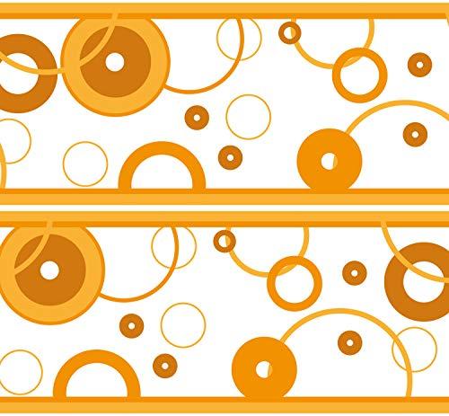 """Selbstklebende Bordüre """"Bubbles"""", 4-teilig 560x15cm, Tapetenbordüre, Wandbordüre, Borte, Wanddeko,Blasen, orange"""