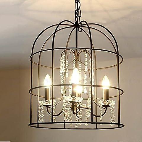 País de América pájaro jaula vintage lámpara chandelier lámpara cristalina hermosa creativa sala comedor habitación Hotel Villa luz