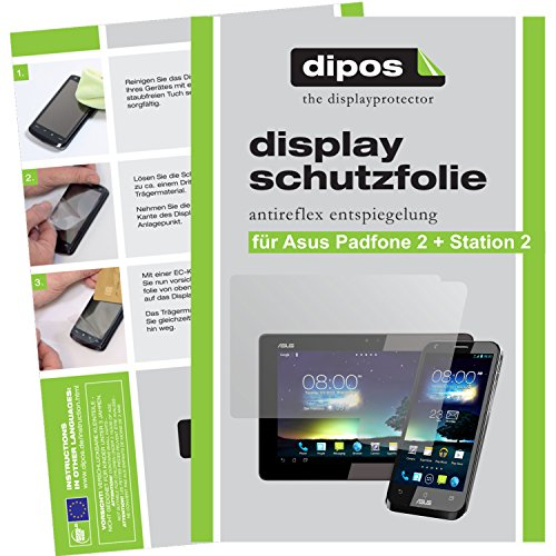 Dipos 6x Screen Protectors Anti-Reflection 4x for Asus Padfone 2 + 2x for Padfone Station 2