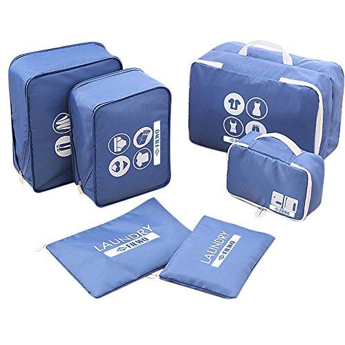 Kleidertaschen, FILWO 6 in 1 Packwürfel Leicht Tragbar Wasserdicht Packing Cube in Koffer Wäschebeutel Schuhbeutel Kosmetik Aufbewahrun...