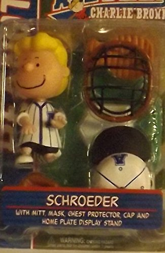 SCHROEDER (BLUE JERSEY) with Mitt, Mask, Chest Protector, Cap & Home Plate Display Stand PEANUTS Action Figure from You're An All-Star CHARLIE BROWN by Schroeder Charlie Brown