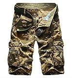 WSLCN Herren Camouflage Cargo Shorts Kurze Hosen Khaki Camouflage W42 (Taille 106cm)