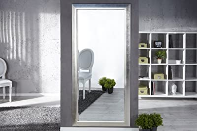 Großer moderner Design Spiegel ESPEJO silber 190x90cm Wandspiegel