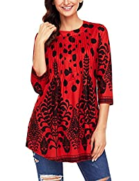 DOKOTOO Women s Casual Floral Notch Neck Pin-Tuck Tunic Blouse Top 78afe013880f0