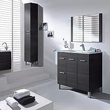 aktiva mobile da bagno 2 ante 2 cassetti con specchio e lavandino colore 800 grigio