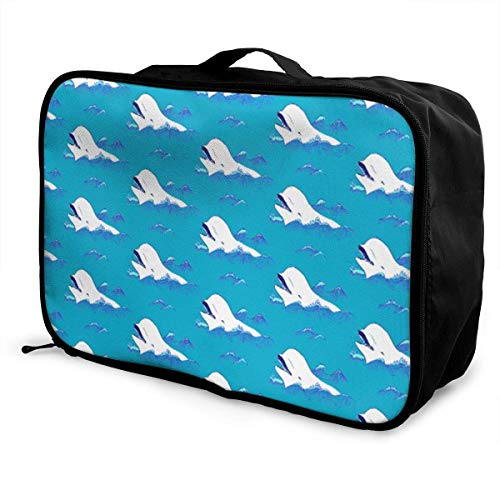 dhdhgdfj Tragbare Gepäck-Reisetasche Reisetaschen Happy Belugas In The Blue Ocean Travel Bags Carry-on In Trolley Handle Weekender Bag Fashion Carry-on Tote Lightweight Large -