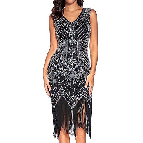 Comeon Damen Flapper Kleider voller Pailletten Retro 1920er Jahre Stil V-Ausschnitt Great Gatsby Motto Party Damen Kostüm Kleid (Schwarz, L) (Billig Kleid Flapper)
