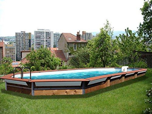 Waterclip Kythnos Holz-Pool, 890x 420x 147cm, oberirdisch, achteckig
