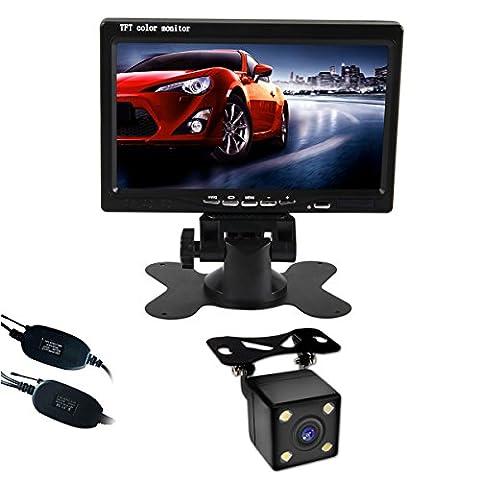 Phansthy sans fil Trajectoire de voiture Rétroviseur caméra de recul et kit de moniteur 17,8cm LCD Moniteur de recul et module de capteur intégré Auto-changeable lignes de parking HD CCD Vision de nuit Caméra de recul vue arrière de voiture