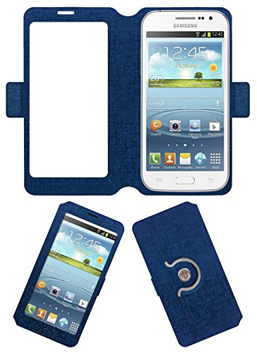 Acm SVIEW Window Designer Rotating Flip Flap Case for Samsung Galaxy Grand Quattro I8550 Mobile Smart View Cover Stand Blue