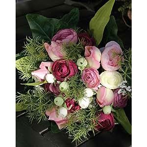 Bouquet de renoncules et tulipes artificielles, rose pastel-rose fuchsia, 30 cm - Bouquet artificiel / Fleurs artificielles en soie - artplants