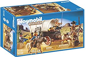 Playmobil Covered Wagon with Raiders, Multi Color