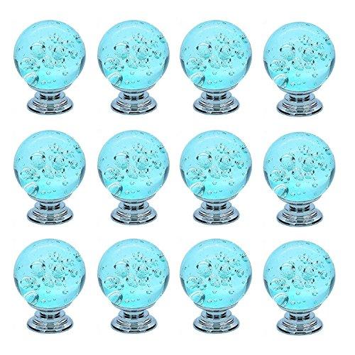 FBSHOP(TM) Aqua Blau Dekorative Süße Bubbles Kristall Glas Ball Form Möbelknopf Möbelknöpfe Knöpfe Türknopf für Küche Schränke, Schränke, Kleiderschrank, Kommode, Schublade, Schrank, checkroom (Set von 12 Pcs) (Kürbis-ball Ornament)