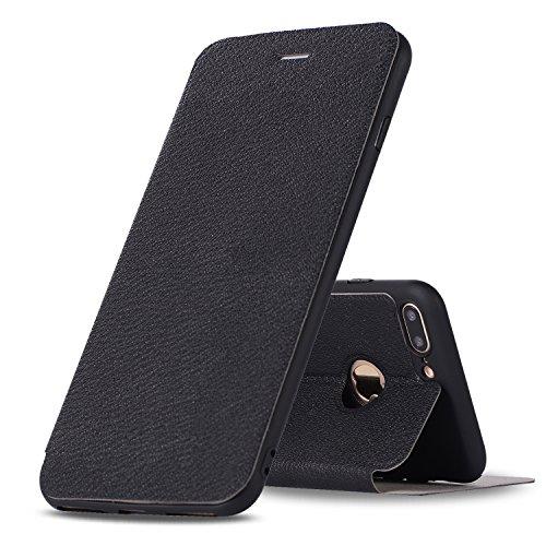 DBIT iphone 8 Plus / iphone 7 Plus Coque - Cuir Microfibre PU Leather Flip Wallet Etui - TPU Cover Protection Shell Housse Case pour iphone 8 Plus / iphone 7 Plus,Rouge noir