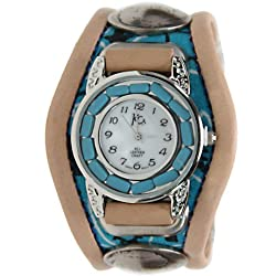 Kc,s Leather Craft Watch Bracelet Three Concho Turquoise Movement Inlay Color Turquoise