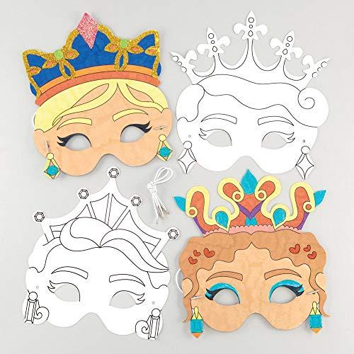 """Baker Ross Masken """"Prinzessin"""" zum Ausmalen (8 Stück) - Masken mit verschiedenen Prinzessinnen für Kinder zum Gestalten und Verkleiden"""