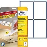 Avery Zweckform L4733REV-25 Etiketten (A4, 100 Plus 20 Universal-Etiketten extra, ablösbar, 99,1 x 139 mm) 30 Blatt, weiß