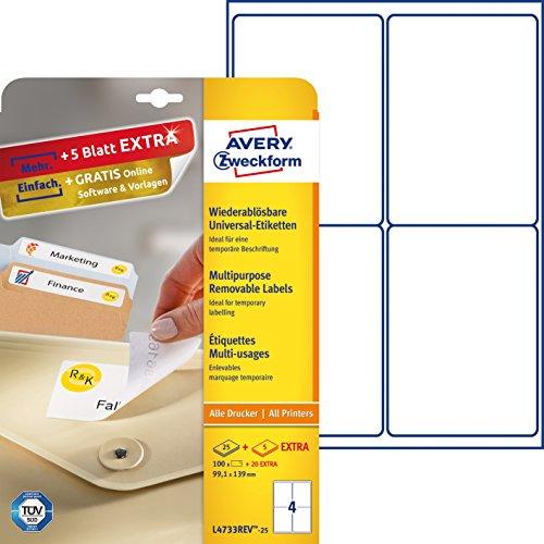 AVERY Zweckform L4733REV-25 Etiketten (A4, 100 Plus 20 Universal-Etiketten extra, ablösbar, 99,1 x 139 mm, 30 Blatt) weiß