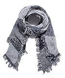 Sciarpa Donna Foulard Plaid Stola Donna Tartan Grande Scialle Abbigliamento Invernali per Moda (Nero)
