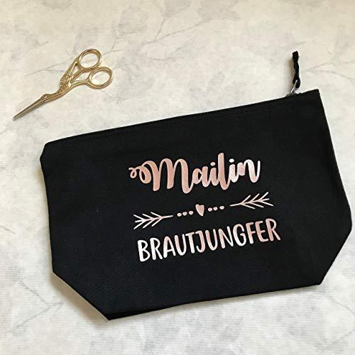 eugin Brautjungfer - personalisierter Kosmetikbeutel in schwarz ()