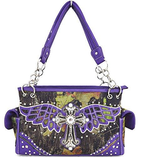 Blancho Biancheria da letto delle donne [Ala Croce] PU Leather Bag Set Elegante Portafoglio Hanbag Comobo Fashion Bag viola Handbag-Viola