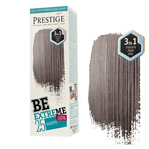 Be Extreme Halb-Dauerhafter Haar-Toner-Farbe Graphit 25 - Ohne von Ammoniak, Ohne von Parabene und PPD (Ppd-haare Färben)