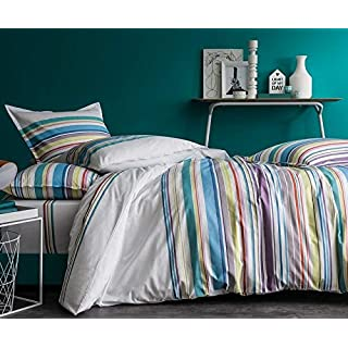 Alpes Blanc Alps White Bedding Set Night Graphic Multicolour Duvet Cover 100% Cotton Green Stripe Pattern with Pillow Cases, 240_x_260_cm