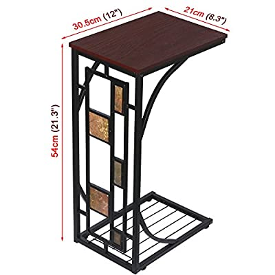 Beyondfashion Antique Style Living Room Office End Table Sofa Side Coffee Trolly Simple Assembly Side Table - inexpensive UK light shop.