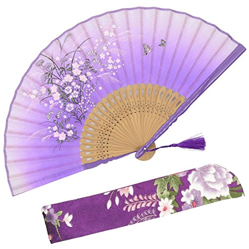 OMyTea - 'Grassflower', Faltbarer Handfächer für Frauen. Japanischer/ Chinesischer Retrostil. Mit Schutzbeutel aus Stoff. violett - Nylon-laternen Japanisch