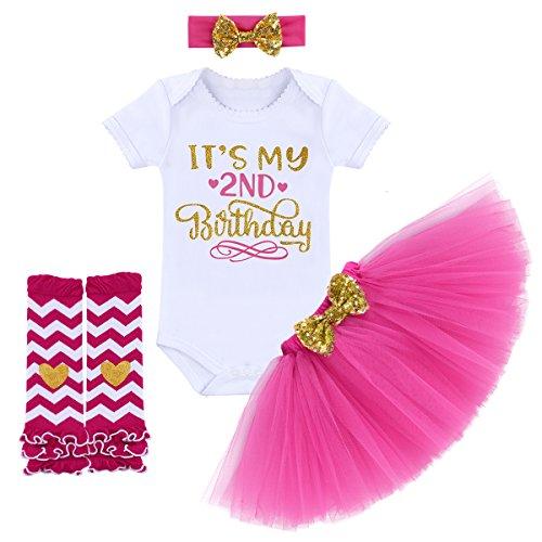 Kleidungsset Es ist Mein 1/2 1. 2. Geburtstag Party Outfit Prinzessin Tütü Kleid Kurzärm Strampler + Tüll Rock + Stirnband 3 Stücke Babybekleidung Fotoshooting Kostüm ()