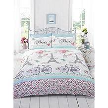 Just Contempo - Juego de funda nórdica y funda de almohada (algodón y poliéster), diseño de flores, bicicletas y torre Eiffel, mezcla de algodón, rosa/blanco/azul/verde, matrimonio